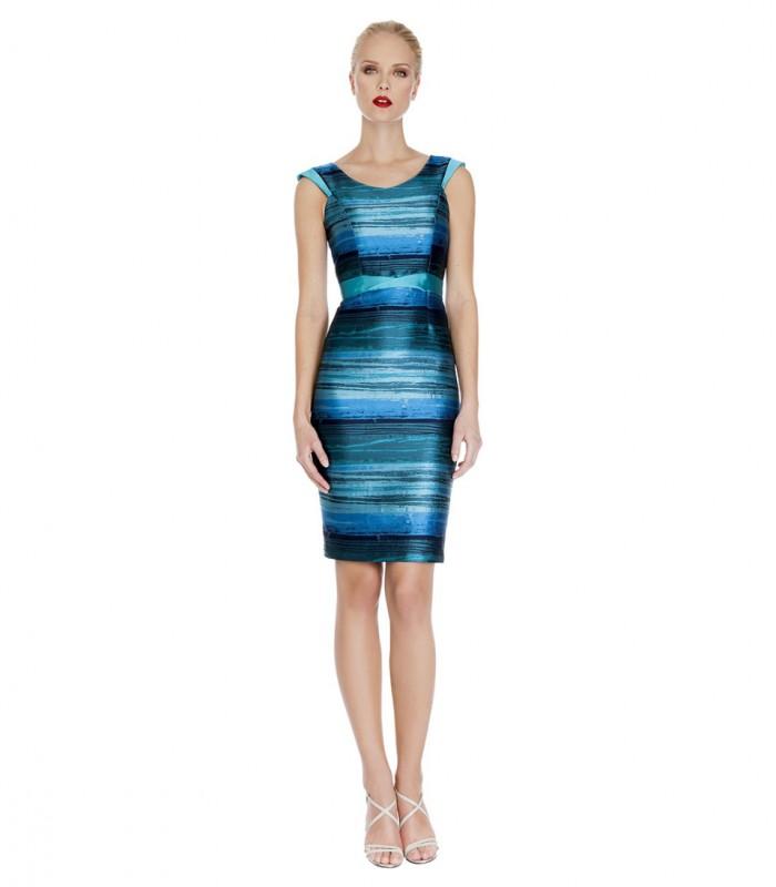 Printed midi dress with round neckline