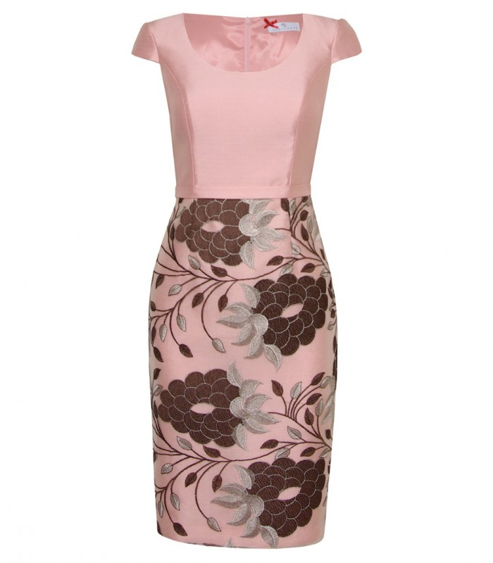 Midi dress with floral lace skirt and lapel jacket
