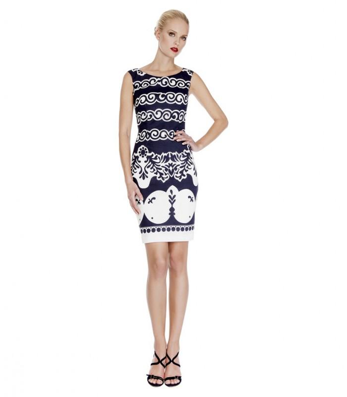 Midi dress with print and bolero jacket