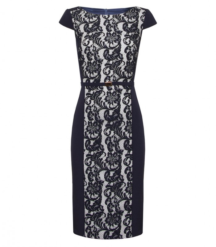 Floral lace midi dress with straight neckline