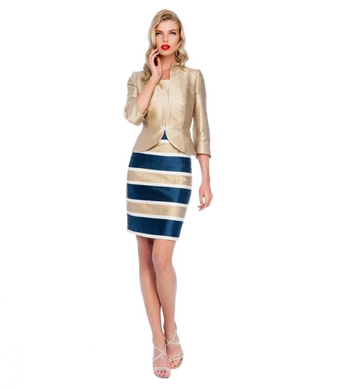 Midi dress with printed skirt and blazer-style jacket