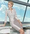 Scoop neckline midi dress with blazer style