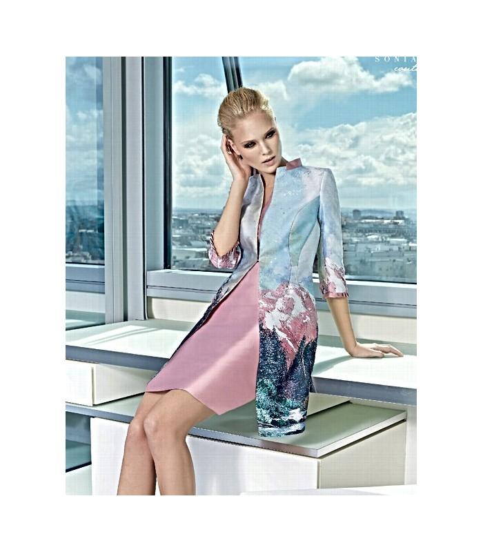 Round neck midi dress with printed coat