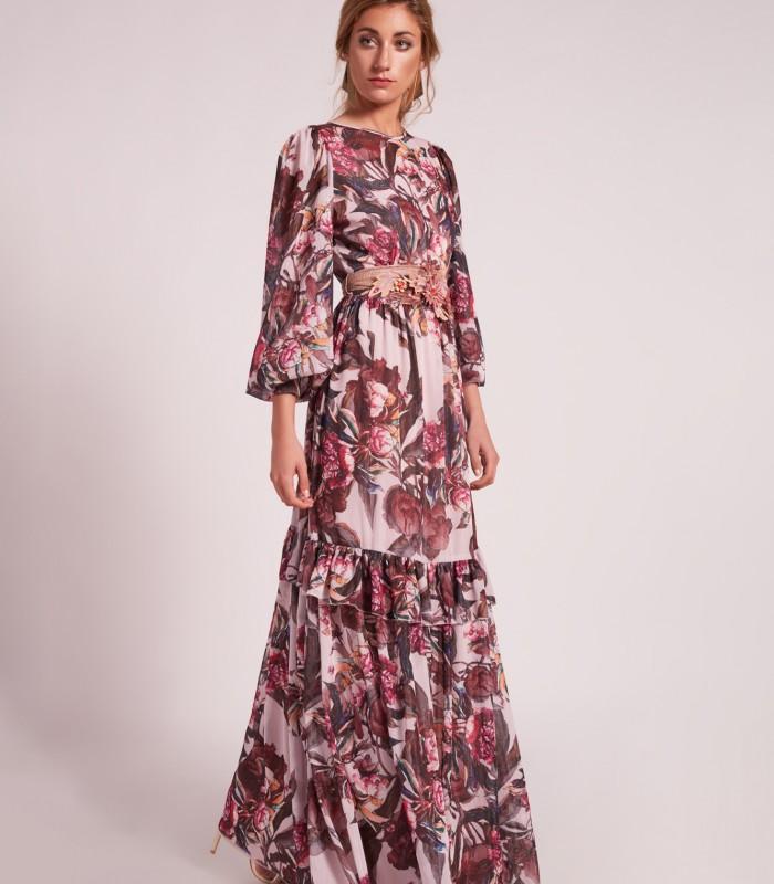 Vestido con estampado floral y manga abullonada