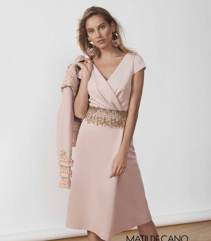 Midi dress with crossover neckline and star belt