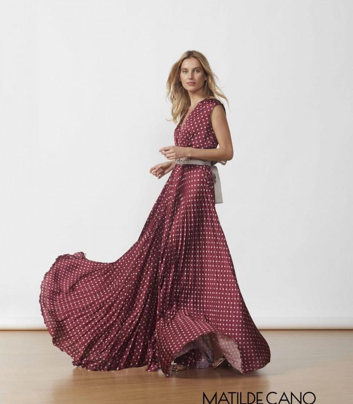 Polka dot pleated long dress