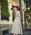 Polka dot print midi flaight dress