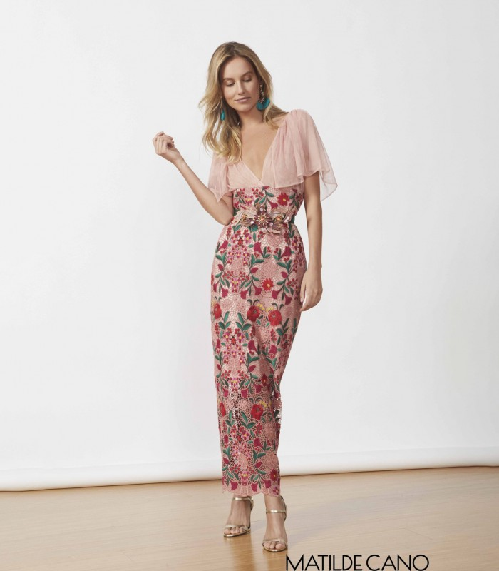 Long dress with surplice neckline and floral lace
