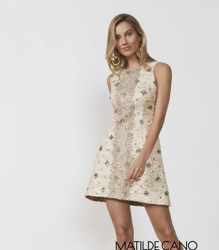 Short printed dress with embroidery and sequins