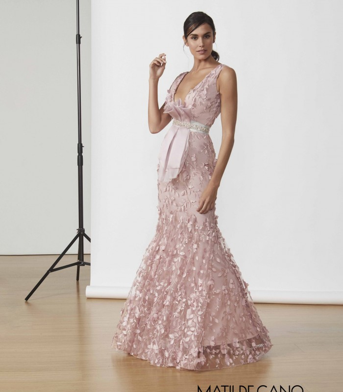 Long dress with deep neckline and mermaid cut