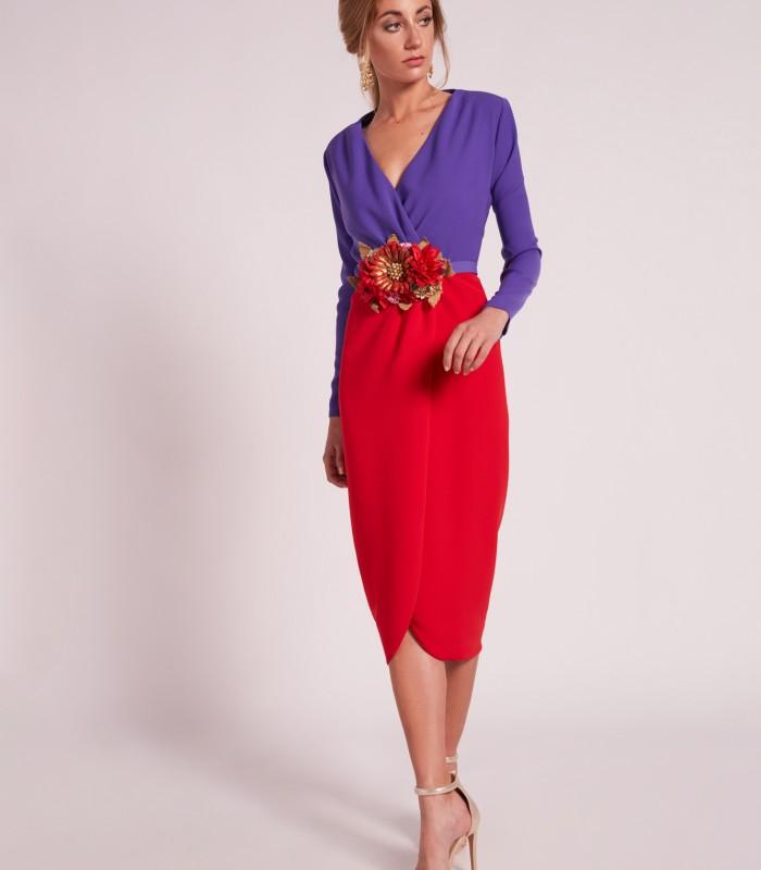 Vestido midi con escote cruzado y falda tulipán