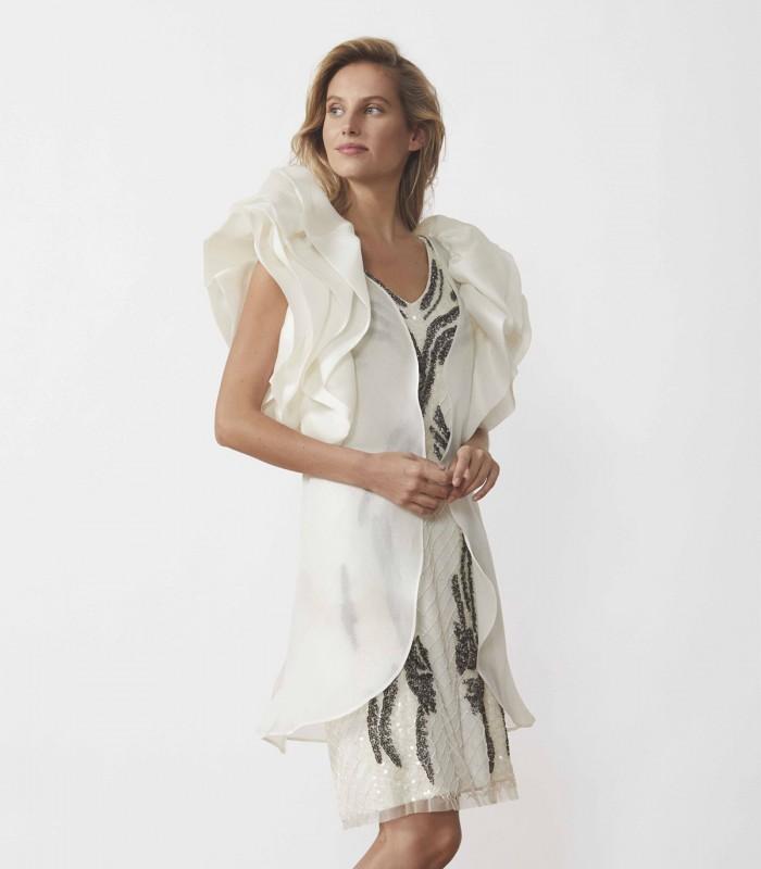 Wrap coat with ruffle sleeves