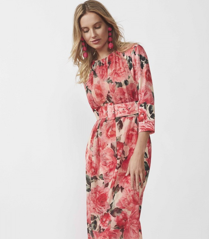 Long printed dress with gathered neckline