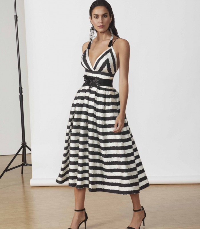 Striped print midi dress with surplice neckline