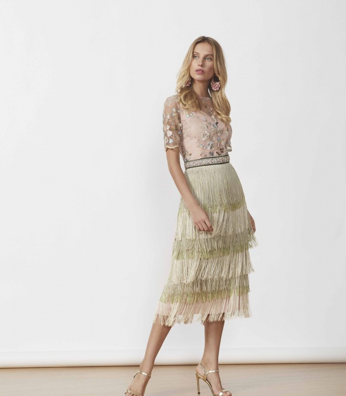 Midi dress with sheer neckline and fringed skirt