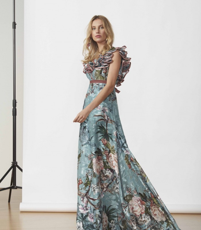 Long printed dress with ruffle sleeves and A-line skirt