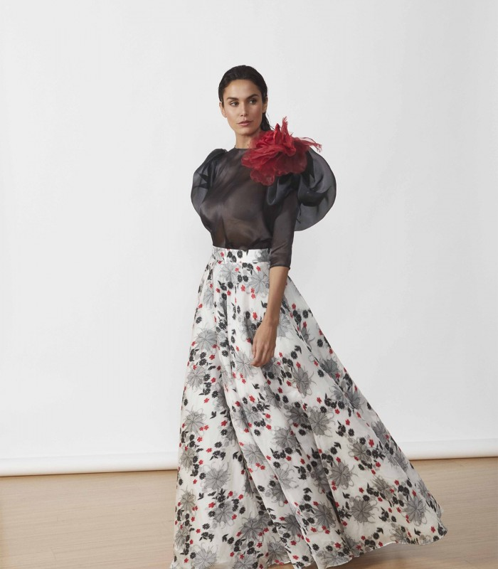 Dress with puff sleeves and printed skirt