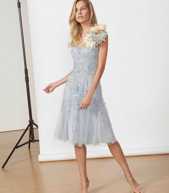 Floral applique midi dress with beaded tulle skirt