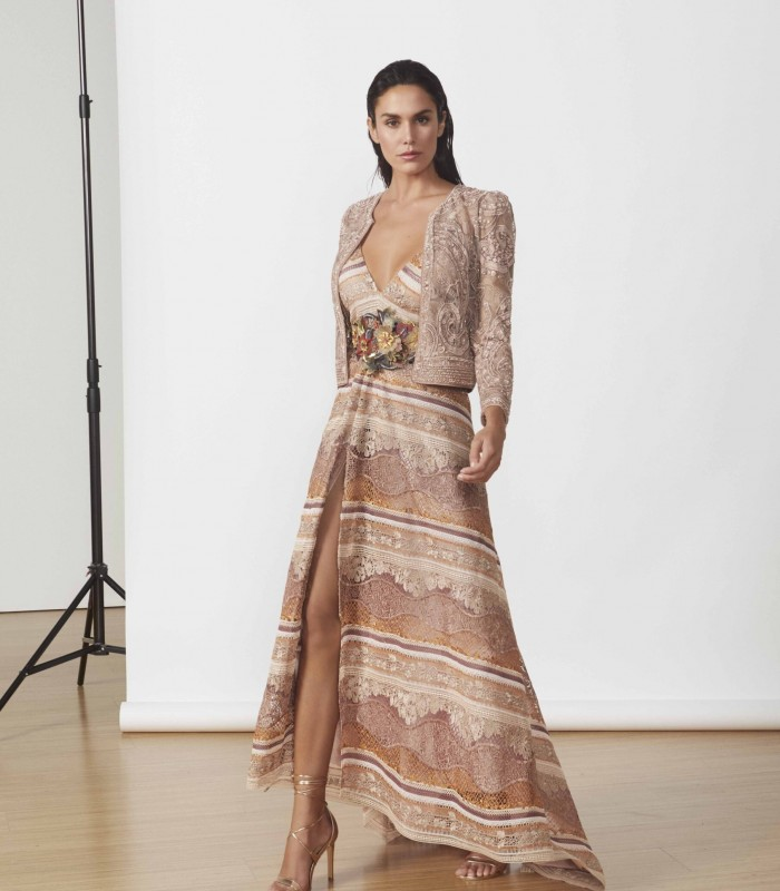Long printed dress with side slit