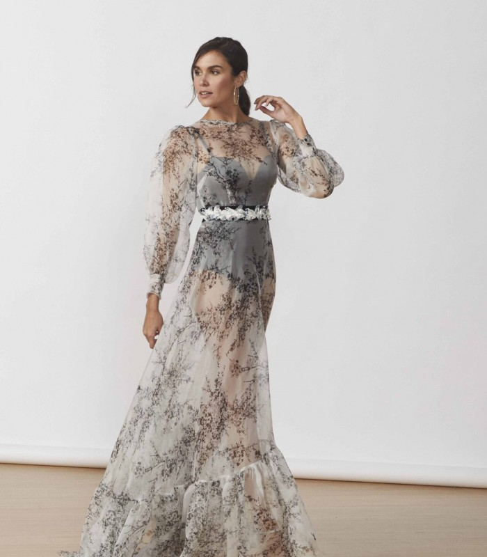 Long transparent dress with puff sleeves and sweep train