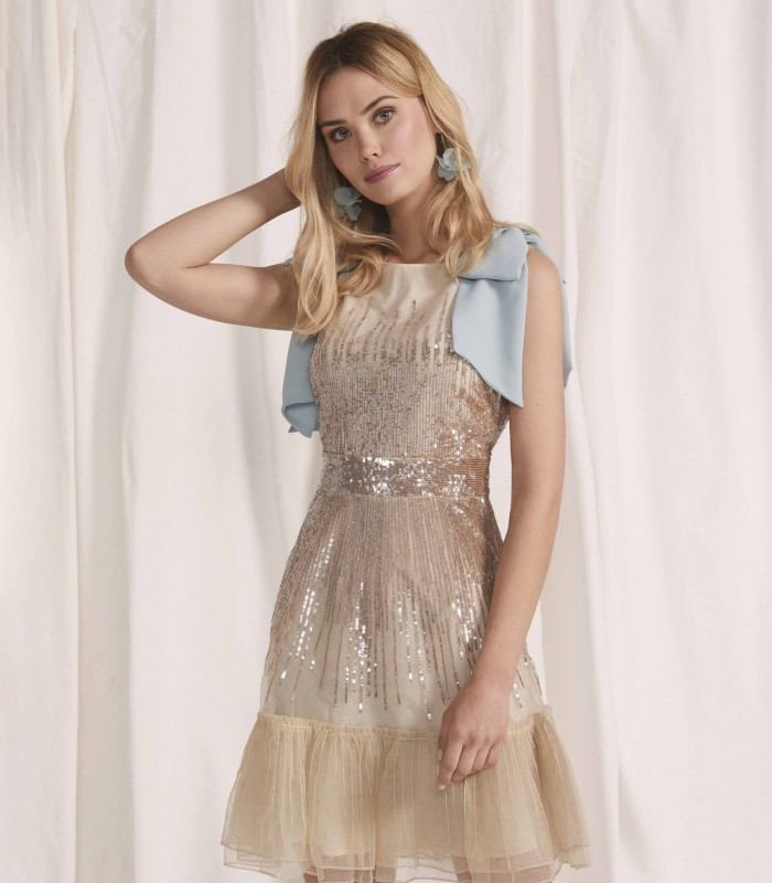 Sequin midi dress with embellishment on the shoulders and ruffle skirt