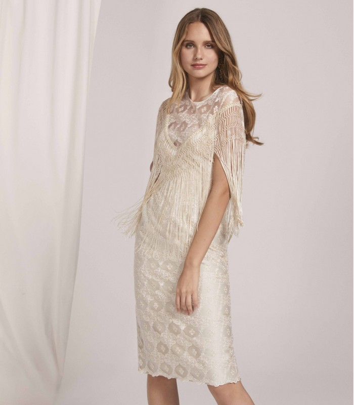 Lace midi dress with sheer neckline and fringes