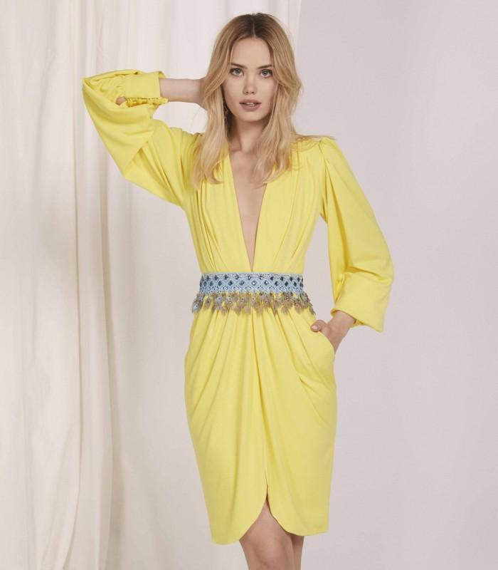 Vestido midi con escote profundo con manga baja y falda estilo tulipán