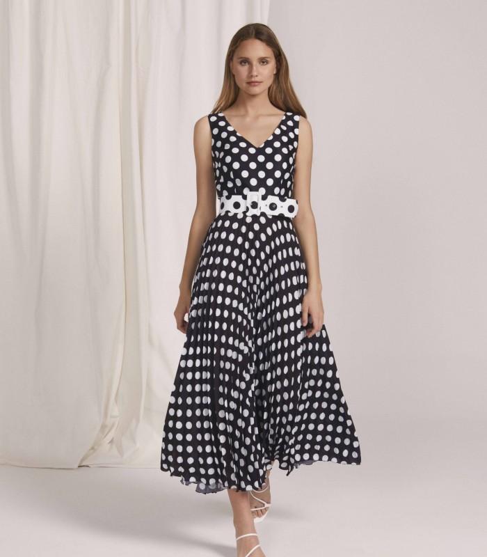 Vestido largo de lunares con escote en V y falda plisada
