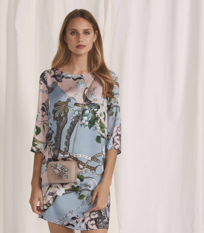 Short printed dress with French sleeve