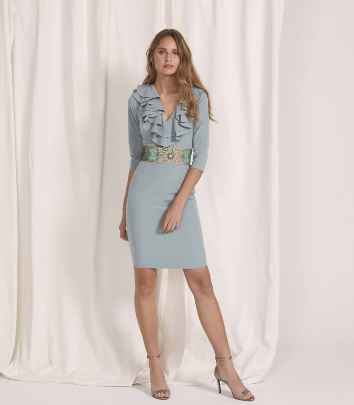 Ruffle V-Neck Midi Dress with Floral Belt