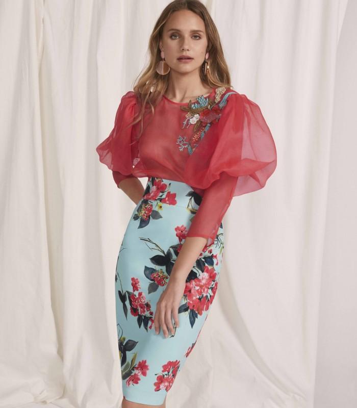 Puff sleeve and printed skirt set
