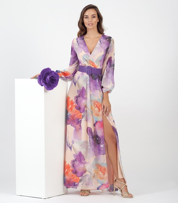 Long chiffon print dress with crossover neckline