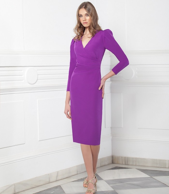 Straight midi dress with crossover neckline and gigot sleeves