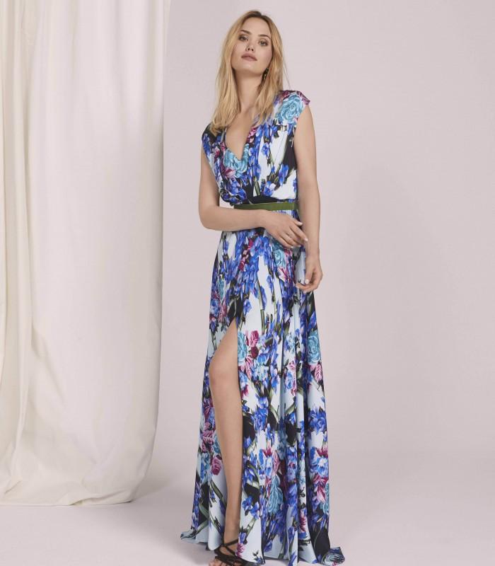 Vestido largo estampado con escote en V y abertura central