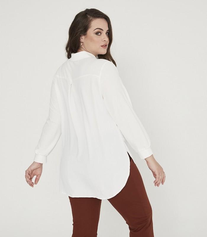 Camisa lisa manga larga con cuello camisero y botones