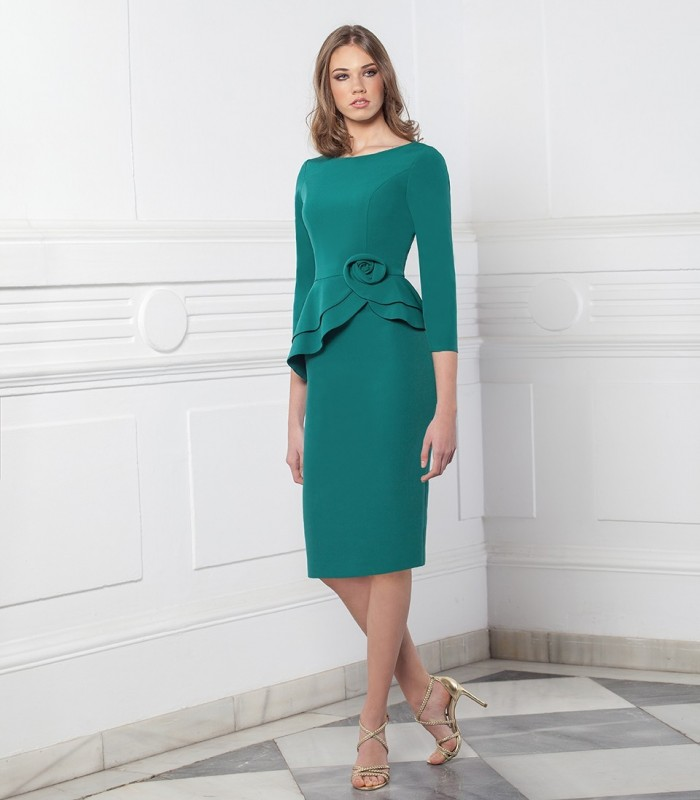 Short straight dress with asymmetric overskirt and flower detail