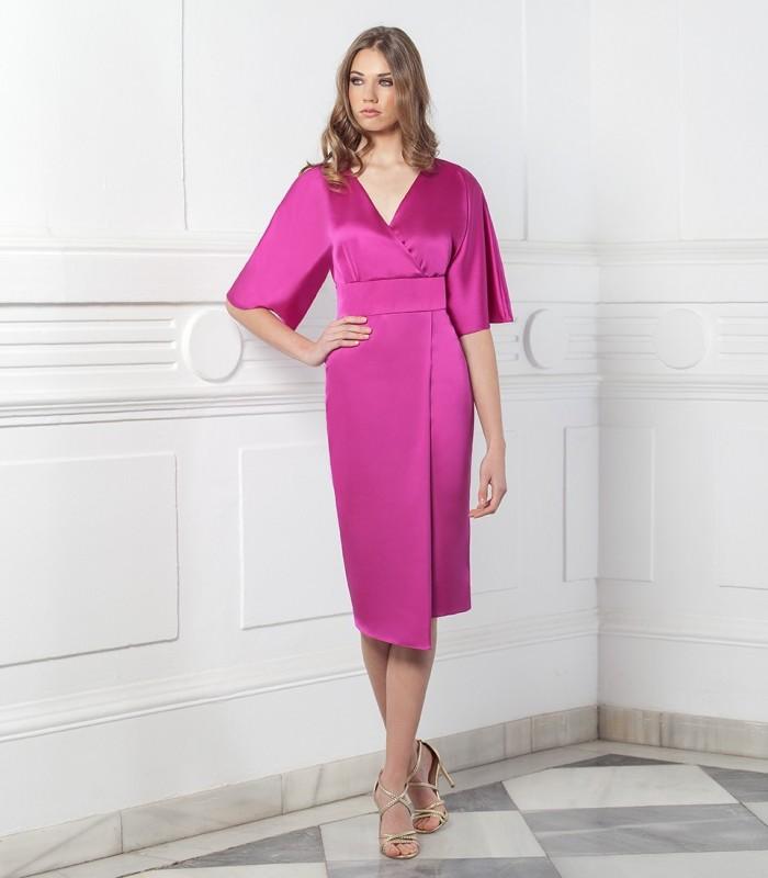 Midi wrap dress with belt at waist
