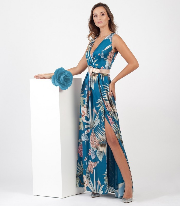 Long printed dress with crossed neckline and belt