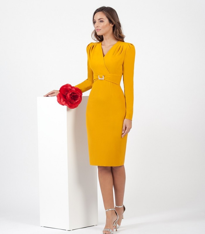 Mustard midi dress with gathered sleeves and waist detail
