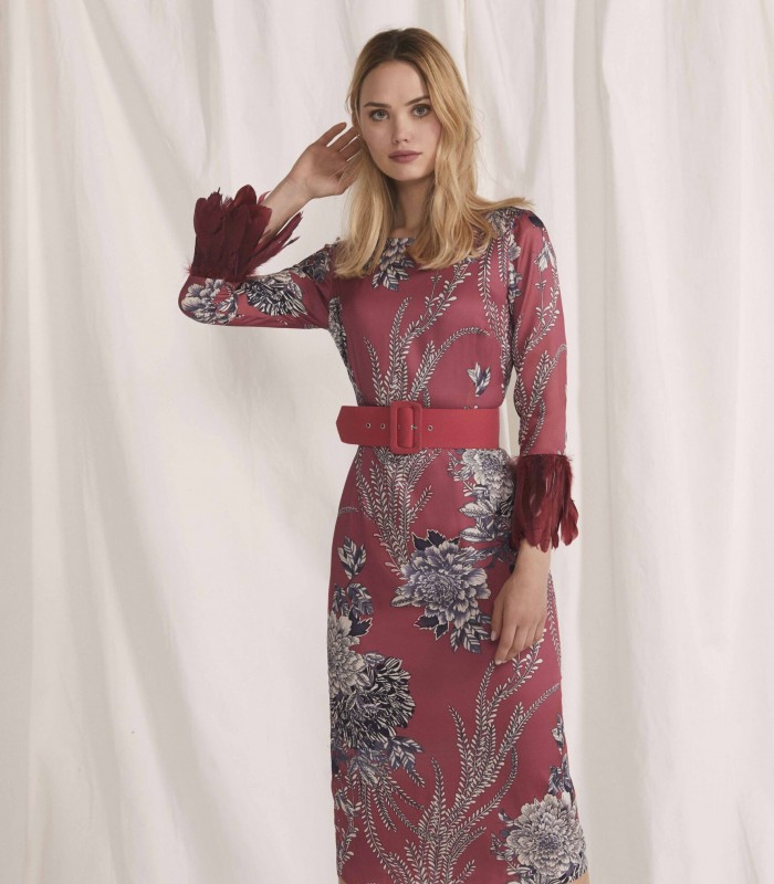 Printed midi dress with French sleeve decorated with feathers