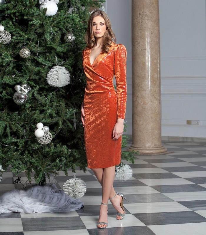 Short gathered velvet dress with v-neckline