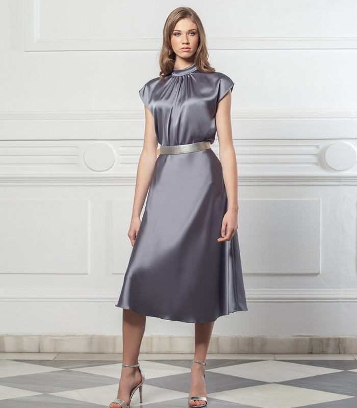 Long smooth satin skirt with flare