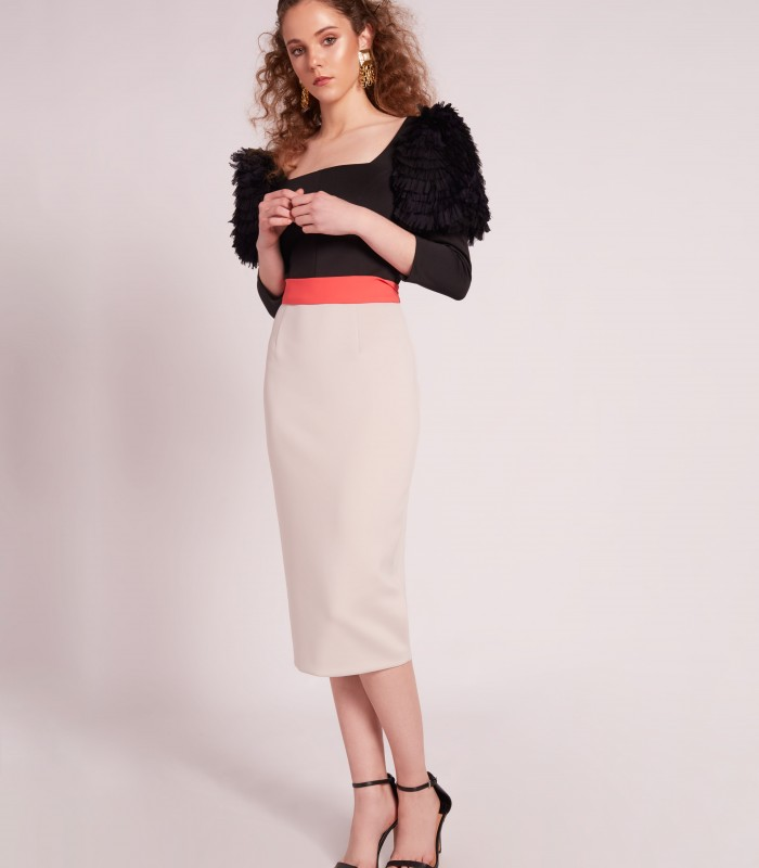 Inverted Trapeze Neckline Midi Dress With Ruffle Puff Sleeve