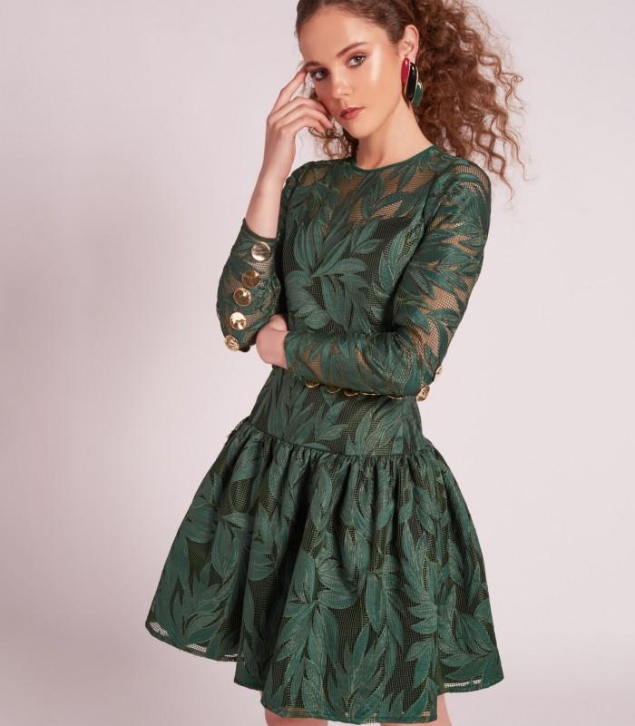 Sheer scoop neck Midi Dress with ruched bolero skirt