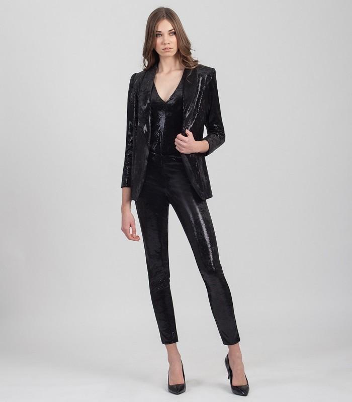 Long laminated velvet trousers