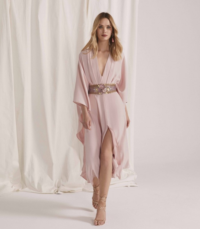 Midi dress with kimono sleeves and skirt with central slit
