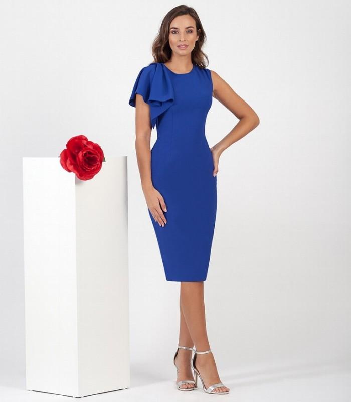Straight-cut midi dress with one ruffle sleeve