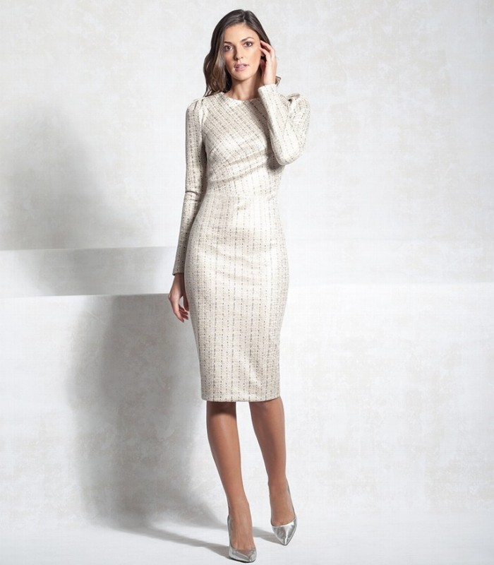 Casting signature midi dress with straight cut with long sleeves Gigot  Round neckline Long sleeve Adjusted to the body
