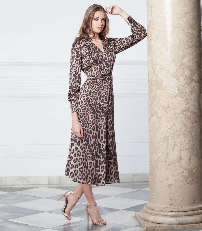 Animal print midi dress with crossover neckline