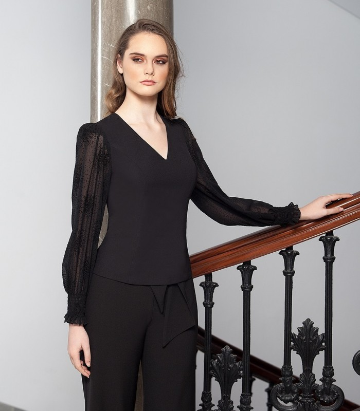 Blouse with a V-neckline and chiffon sleeves with transparency